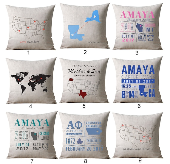 Custom map pillow locations pillow world map pillow cover etsy gumiabroncs Choice Image