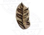 Exclusive Wooden Stamp Brass Leaf Pattern Clay Printing Block BSAtag013
