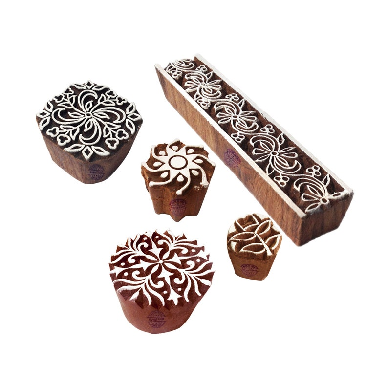 Retro Designs Wooden Printing Stamps for Block Printing on Fabric Textile Paper Htag1241-1250