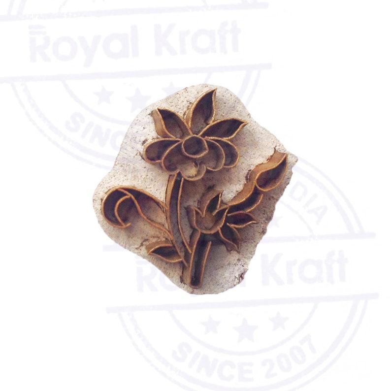 Decorative Print Stamp Brass Flower Pattern Wood Clay Block