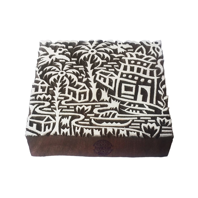 5 Inches Square Wooden Assorted Print Stamp Blocks for Textile Block Printing ESIC001-10