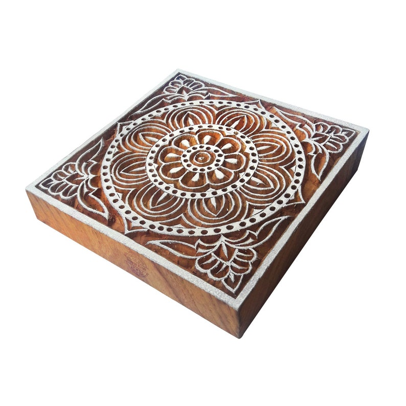 4 Inches Square Wooden Assorted Print Stamp Blocks for Textile Block Printing ESIC001-10