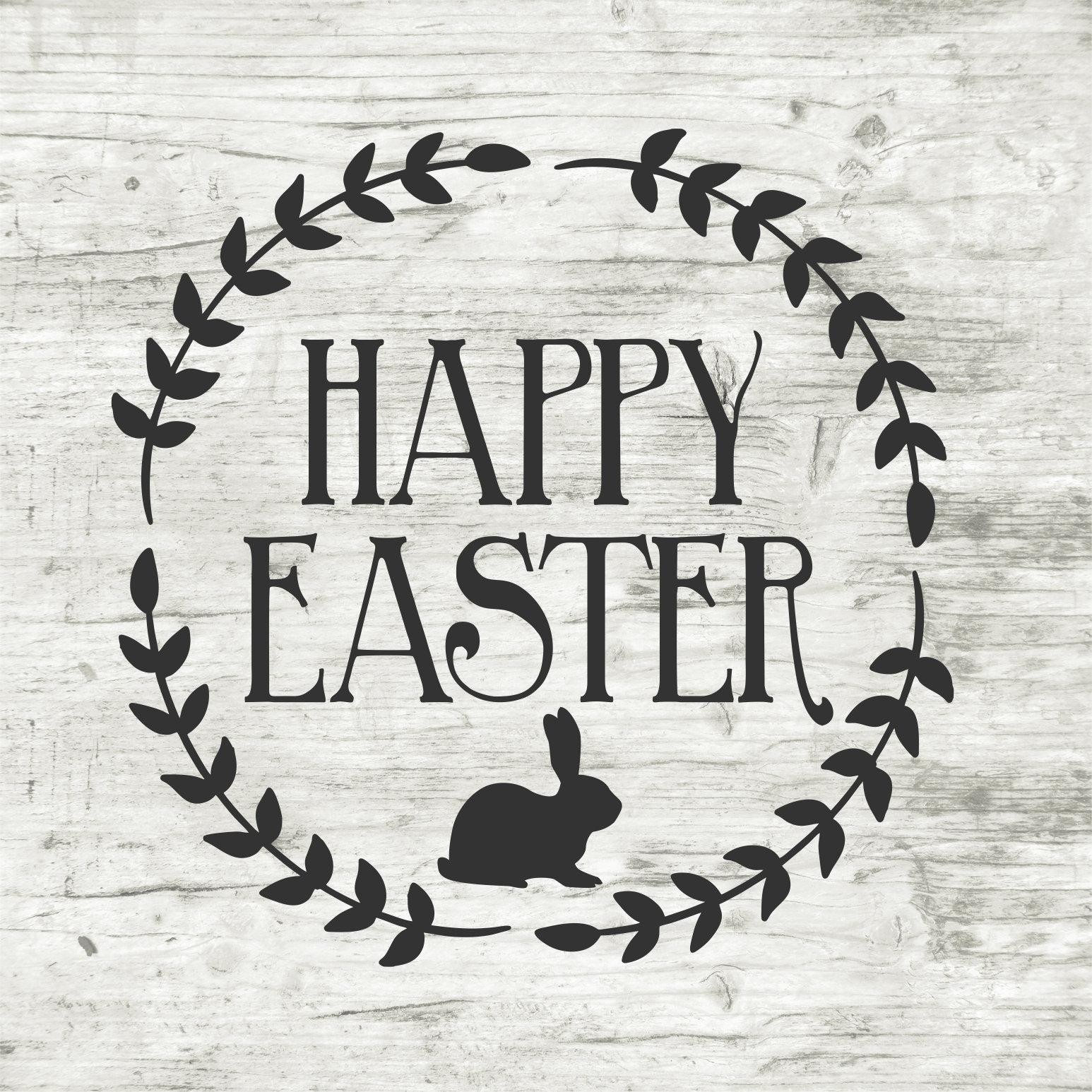 Happy Easter Stencil Easter Stencil Wreath Stencil Easter ...