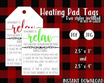Printable Heating Pad / Bag Tags - JPG & PDF - Rice bag, Corn Bag, Corn Heating Pad, Rice Heating Bag, Instruction Tags, Printable Tags