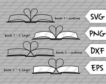 Book Hearts - Set of 4 - SVG / PNG / EPS / dxf