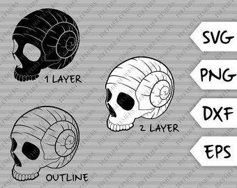 Skull Shell - SVG / PNG / DXF / eps - Cut File, Beach, tropical