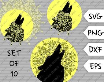 Mandala Wolf - Set of all 10 - SVG / PNG / DXF / eps - Cut File, Night, Beauty, Nature