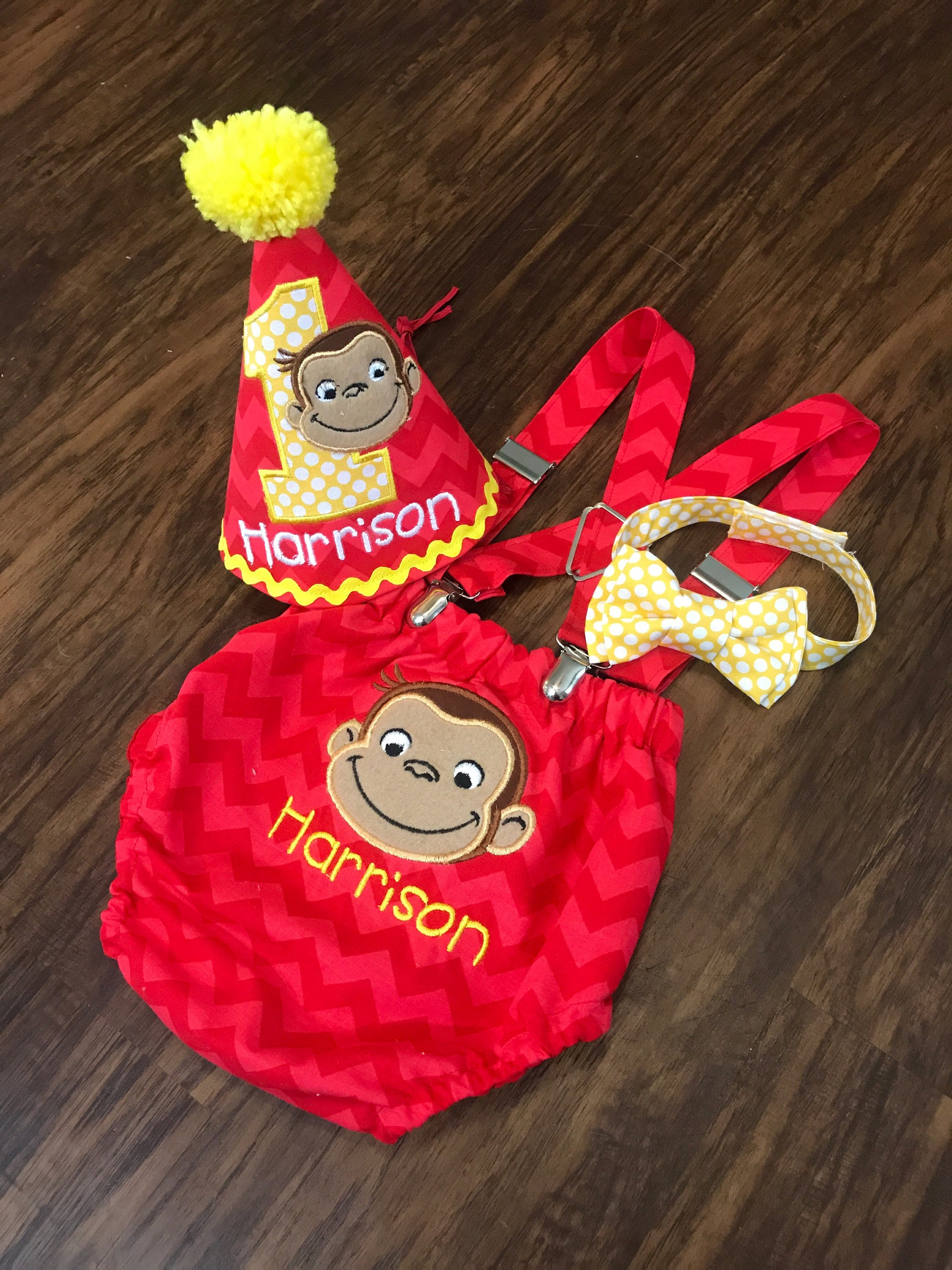 Curious George Cake Smash Outfit Birthday