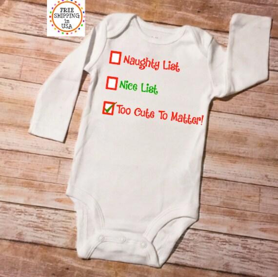 Santas Too Cute List, Christmas Baby Onesie, Baby Boy Onesie, Baby Girl  Onesie, Baby Boy Christmas, Baby Boy Xmas, Baby Girl Christmas