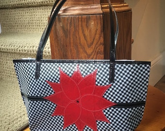 Houndstooth with Red Flower Duct Tape Handbag