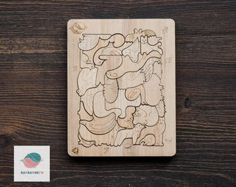 Wooden Puzzle - Precious Forest - Barbarikum - Wooden Waldorf Toy - Christmas Gift