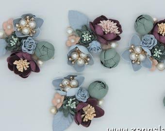 Wedding Corsage Pale Green/3D Flower Applique/Bridal Applique/Show Clips/Shoe Applique/Beaded Applique/Priced for one piece/DL-20