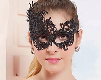 Masquerade Mask Masks For Venetian Half Lace Men Gift Her Him LM 15 BL