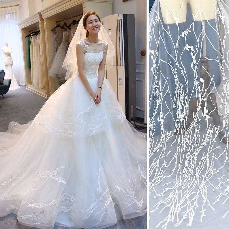 Off White Lace Wedding Dress Fabricluxury Evening Dress Etsy