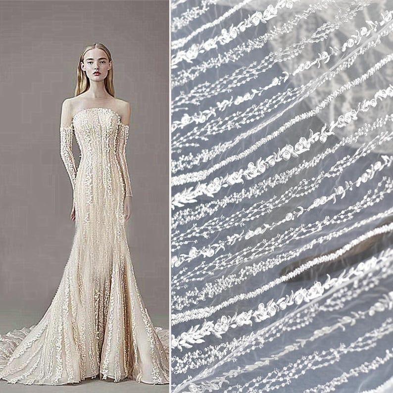 Off White Lace Fabricboho Wedding Dressluxury Lace Wedding Etsy
