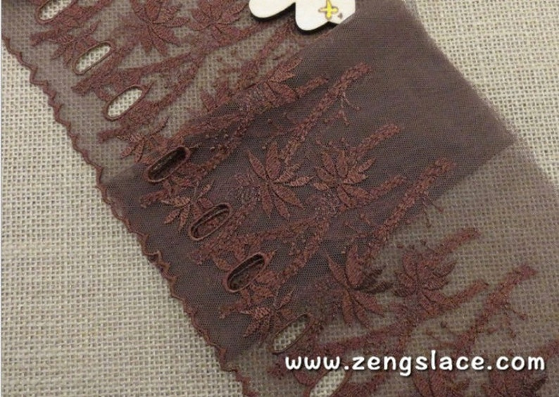 lace by the yard lace embroidery lingerie lace Brown mesh wide lace trim embroidered with floral patterns floral lace ee-11-01