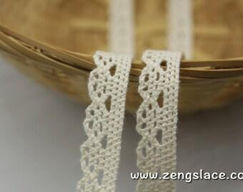 Beige cotton lace trim/lace curtain trim/Crochet Lace Trim/Vintage Lace Trim/Bohemian Lace Trim/Lace Insertion Trim/lace by the yard/CL-08-x