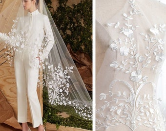 Off white Lace Wedding Dress applique/Boho Wedding Dress/Alencon lace applique/Bridal applique for 1 pc/Prom Dress/Evening Gown/ALA-73