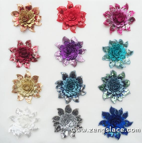 Colored Flowers Sew On Patches For Clothes DIY Bag Clothing Coat Crafts —HQ