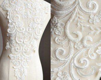 Off white Lace Wedding Dress applique/Alencon lace applique/Boho Wedding Dress/Beaded applique/Bridal applique for 1 pc/Prom Dress/ALA-32