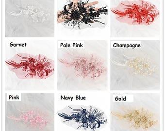 Lace Applique/Lace Wedding Dress Applique/Bridal Applique/Boho Wedding Dress/Flower Applique by one piece/Prom Dress/Evening Gown/ALA-60