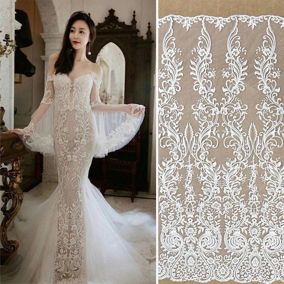 Off-White Sequin Lace Fabric/Lace Wedding Dress/Boho Wedding | Etsy