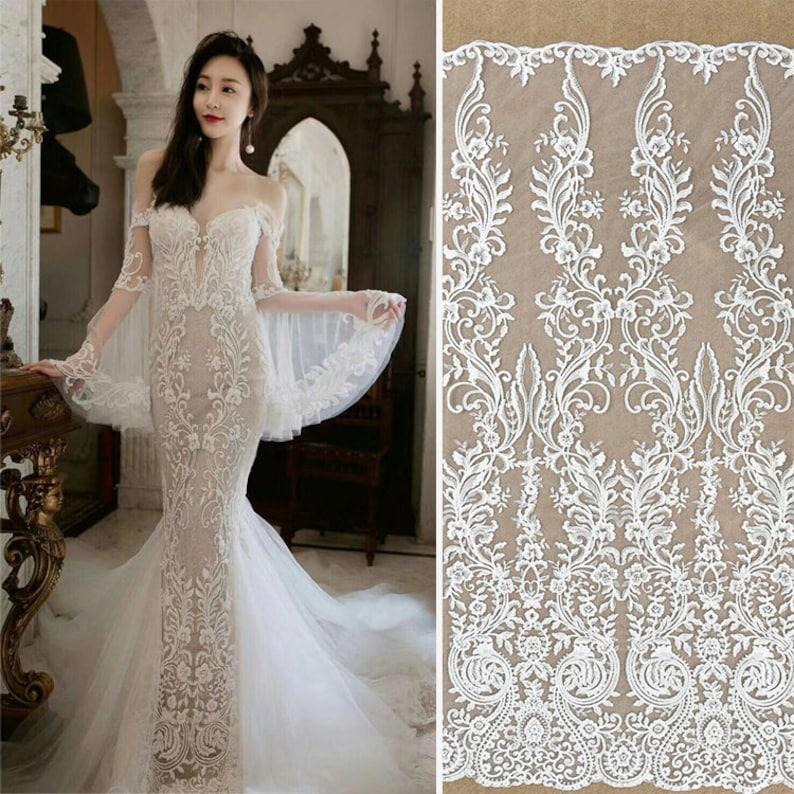 Off White Sequin Lace Fabriclace Wedding Dressboho Wedding Etsy