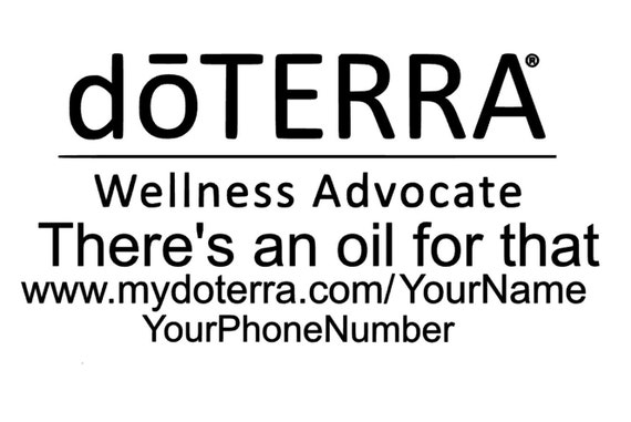 White doTerra Window Decal Sticker Personalize with your Name /& Number Business