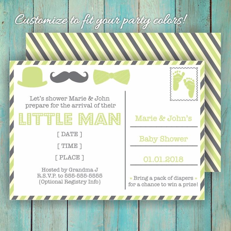 Custom Baby Shower Card Little Man Invitation Cute Bow Tie image 0