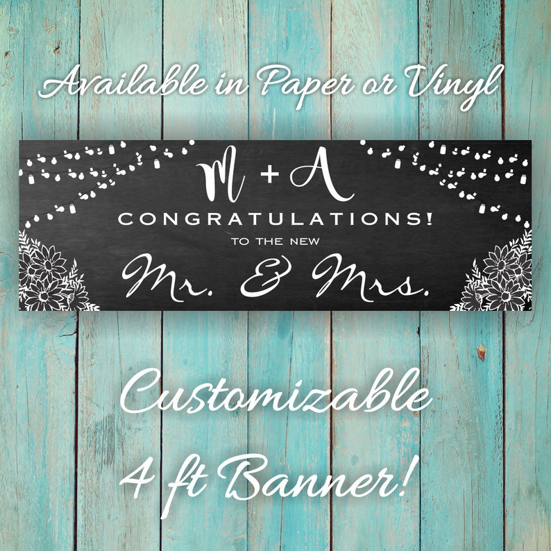Cute Custom Congratulations 4ft X 18inches Banner DIY Personal Banner Wall Sign Customizable Congrats Party Banner Black and White