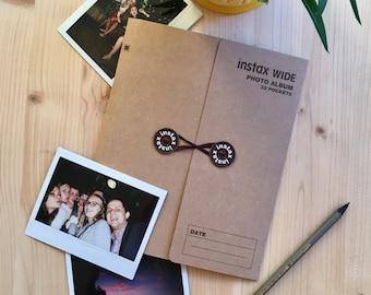 Instax Wide Photo Album for 32 Photos. Instax Photo Album for Instax Wide 300, 210, 200, FP-100C, Lomo'Instant Wide. Dark Brown (Kraft).