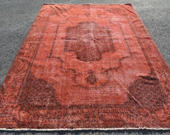 Large Rug Oushak Rug Turkish Rug Vintage Rug Organic Rug Decorative Rug Living Room Rug Antique Rug 5.2x9.2 ft H-6836 Handmade Rug