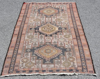 4.0\u00d77.2 ft Vintage oushak rugOushak vintage rug Kitchen decor rug Blue Turkish rug Anatolian rug Handwoven konya garpet  Oriental rug