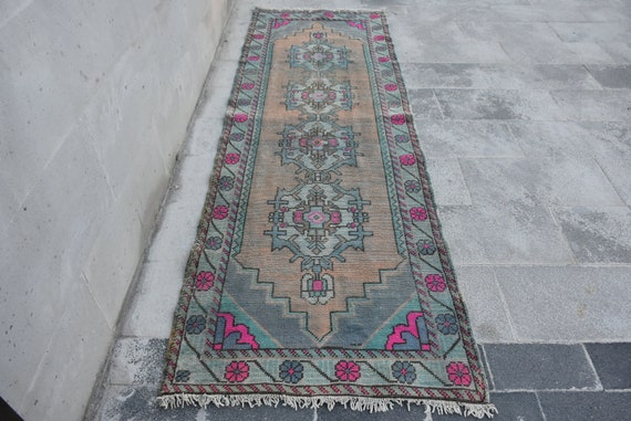 Runner Rug Hallway Rug Pink Rug Faded Rug Turkish Rug Etsy