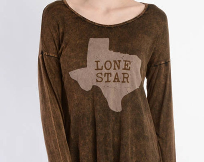 LONESTAR Tie DYE Print Long Sleeve Relaxed Fit Top - T-PARTY