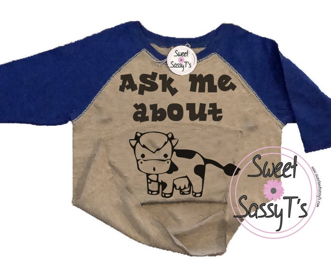 ASK ME about my moo cow toddler baseball tee