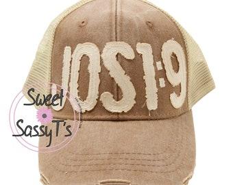 1663fb33e1431 JOSHUA 1 9 DISTRESSED Dad Hat