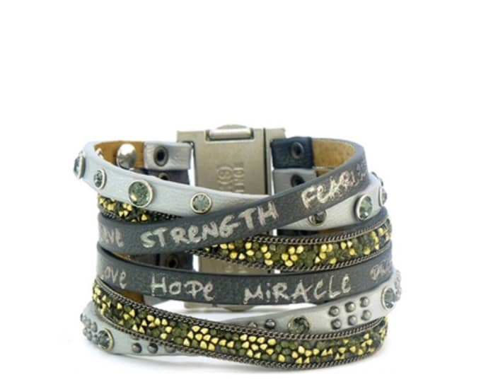 Come to life - leather cuff bracelet - empowered - good work(s) make a difference -