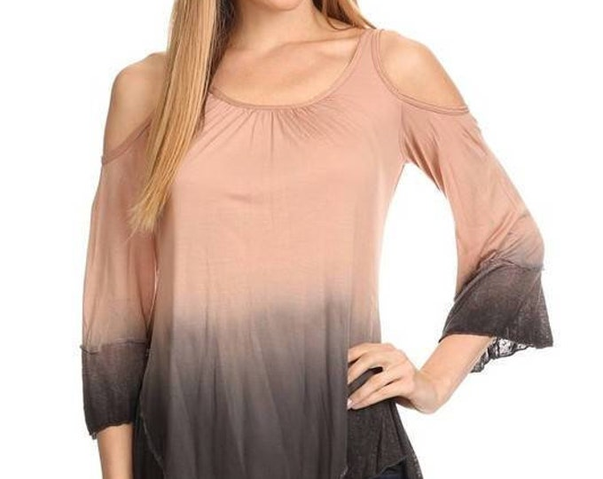 OMBRE/solid, waist length 3/4 sleeve top in a relaxed style with COLD SHOULDER & scalloped hem