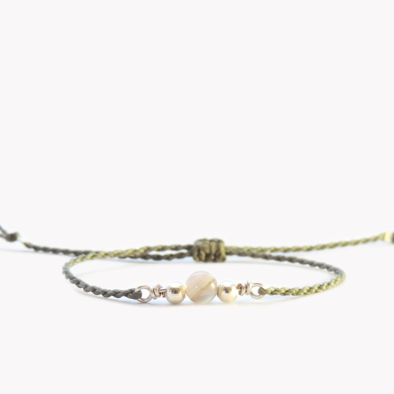 BOTSWANA GEMSTONE Bracelet Everyday Bracelet Thread Bracelet Couples Bracelet Minimal Bracelet Courage Bracelet Friendship Bracelet For Her