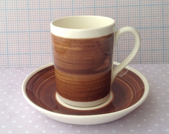 Cup and saucer, Royal Sphinx Maastricht, wood colour, P. Regout