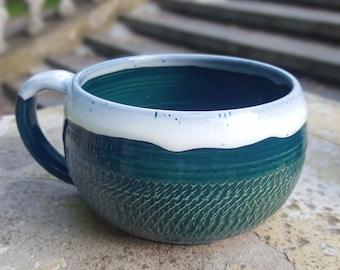 Large mug Fathers mug Large Stoneware mug Green pottery mug Fathers day gift Big mug Husband gift Father gift Large Tea mug Large coffee mug