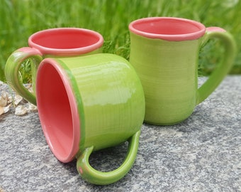Limegreen mug Stoneware mug Ceramic mug handmade Pink mugs set Ceramic coffee mug Unique mug Pottery coffee mugs set Pottery mug Womans gift