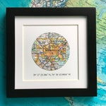 Framed Map with GPS Coordinates - Customized Map Gift - 5x5 Inch Frame - Engagement Gift - Latitude Longitude - Christmas Gift - Gallery