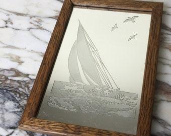 Vintage Brytone encadrée miroir voilier Art