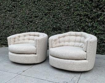 Milo Baughman Barrel Tufted Swivel Chairs