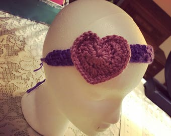 Adjustable Crocheted Heart Headband