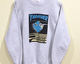 Vintage Thrasher Sweatshirt Hanes Thrasher Skateboards Megazine Downhill  Skateboards Racing Pullover Jumper Hip Hop ead0a9948