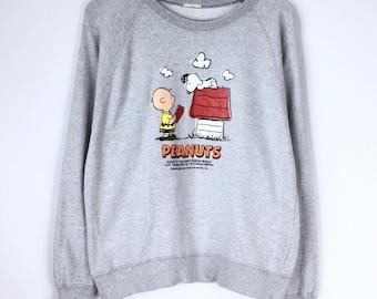 Vintage Peanuts Sweatshirt Jumper Charlie Brown Pullover Peanuts Snoopy  Cartoon Skate Hawaii Beach Medium 5a0e1feee61