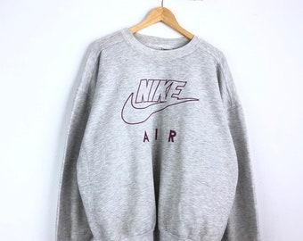6efac9c5 Vintage Nike Sweatshirt Nike Air Big Logo Sweatshirt Pullover Jumper  Spellout Sweater Sportwear Hip Hop Made In Australia Gray Tag